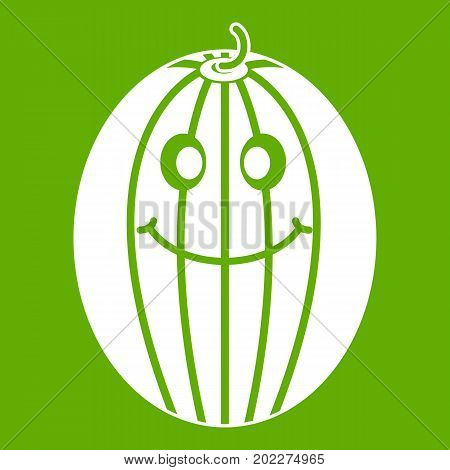 Ripe smiling melon icon white isolated on green background. Vector illustration