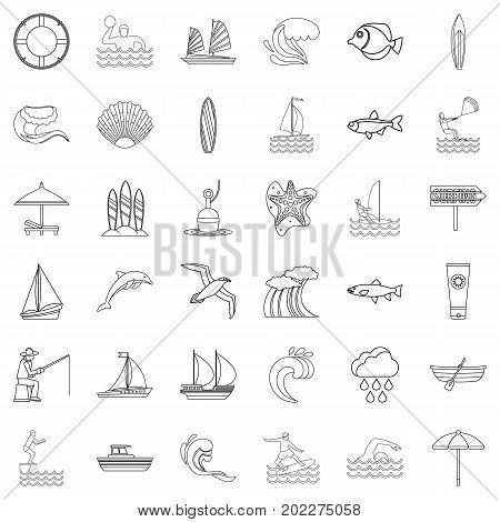 Water creation icons set. Outline style of 36 water creation vector icons for web isolated on white background