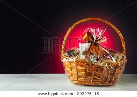 gift basket on purple background