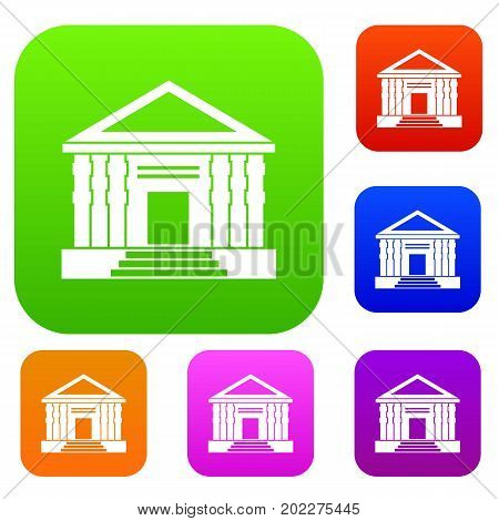 Colonnade set icon in different colors isolated vector illustration. Premium collection