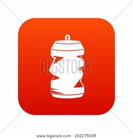 Crumpled aluminum cans icon digital red for any design isolated on white vector illustration
