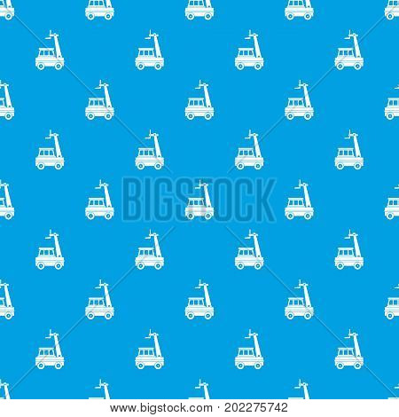 Cherry picker pattern repeat seamless in blue color for any design. Vector geometric illustration