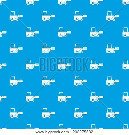 Truck to lift cargo pattern repeat seamless in blue color for any design. Vector geometric illustration
