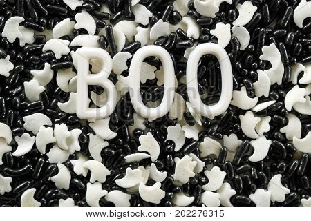 Black and white sprinkles with ghosts.