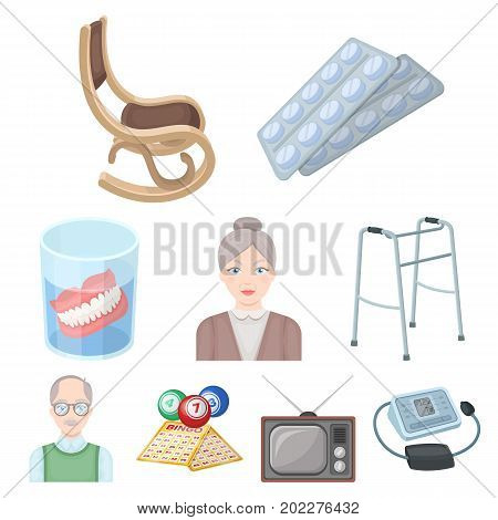 Armchair, slippers, tonometer and other attributes of old age.Old age set collection icons in cartoon style vector symbol stock illustration .