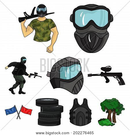 A collection of pictures about the game in paintball. The balloons with paint.Paintball icon in set collection on cartoon style vector symbol stock web illustration.