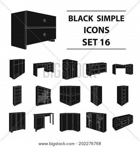 Wardrobe, mirror, wood and other icons of interior. Interior set collection icons in black style vector symbol stock illustration.