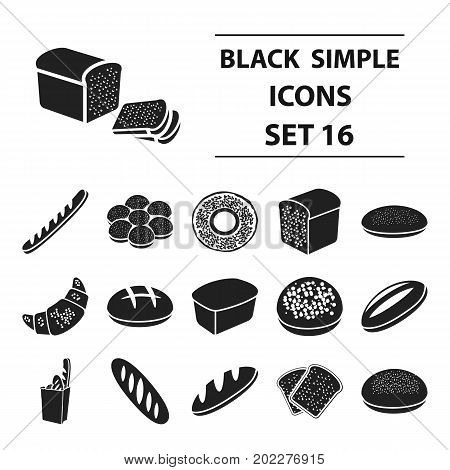 Bread set icons in black style. Big collection bread vector symbol stock