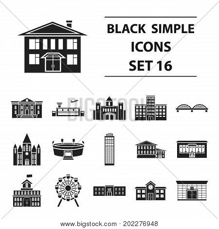 Building set icons in black style. Big collection building vector symbol stock