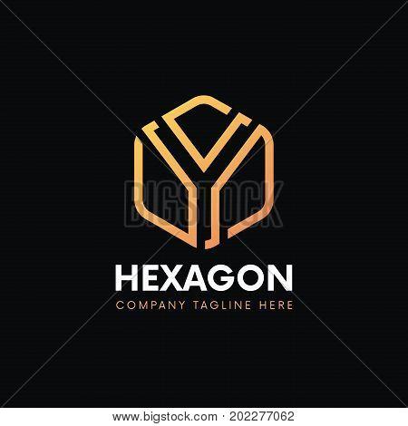 Clean Y Letter Luxury Logo Hexagon Sign Icon Vintage Design.