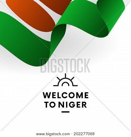 Welcome to Niger. Niger flag. Patriotic design. Vector illustration.
