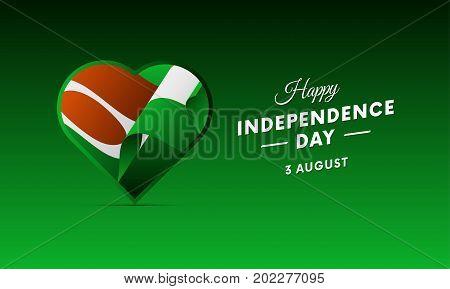 Banner or poster of Niger independence day celebration. Waving flag. Vector illustration.
