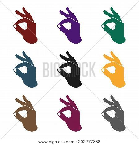 Okay sign icon in black style isolated on white background. Hand gestures symbol vector illustration.