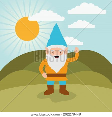 gnome fantastic character greeting expression in mountain landscape background vector illustration