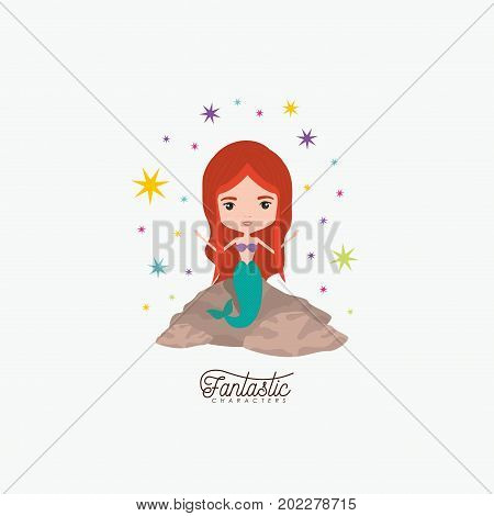 mermaid fantastic character in a rock with colorful sparks and stars on white background vector illustration