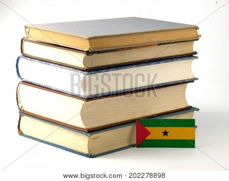 Sao Tome And Principe Flag With Pile Of Books Isolated On White Background