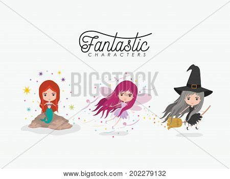 girly fantastic character set of mermaid fairy and witch on white background vector illustration