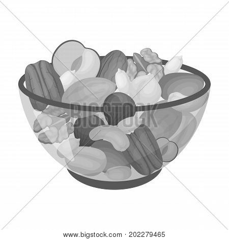 A mixture of different kinds of nuts. Different nuts single icon in monochrome style vector symbol stock illustration .