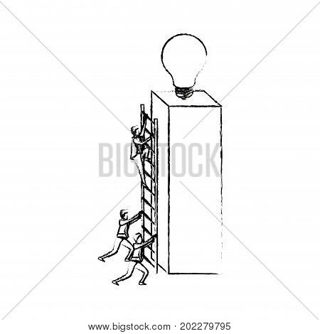 businessmen climbing wooden stairs in a big rectangular block with light bulb in the top silhouette blurred monochrome vector illustration