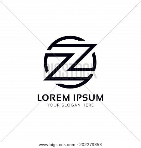 Z Logo Circle Icon Sign Vector Design.