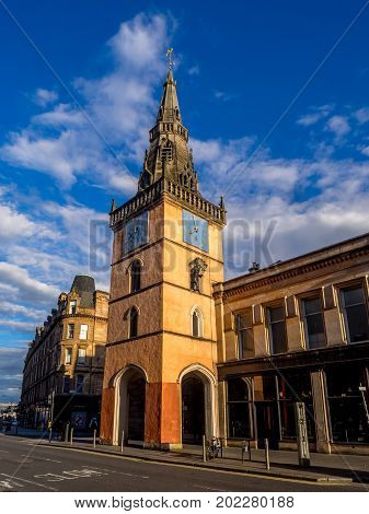 GLASGOW, SCOTLAND - JULY 20: : The Tron Theatre and Steeple at sunset from Argyle Street on July 20, 2017 in Glasgow. This building is a landmark at Trongate in the Merchant City area of Glasgow.