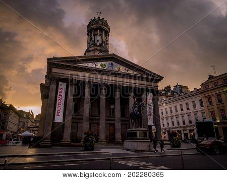 GLASGOW SCOTLAND - JULY 20: Glasgow Gallery of Modern Art on July 20, 2017 in Glasgow, Scotland.  The Gallery of Modern Art is the main gallery of contemporary art in Glasgow, Scotland.