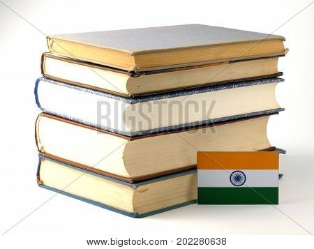 Indian Flag With Pile Of Books Isolated On White Background