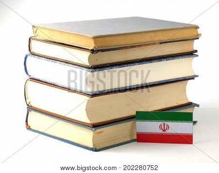 Iranian Flag With Pile Of Books Isolated On White Background