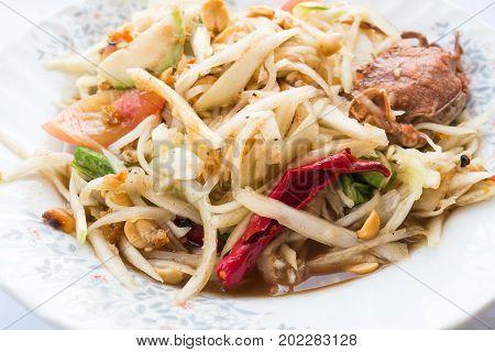 Thai food (Som Tum), Spicy papaya salad