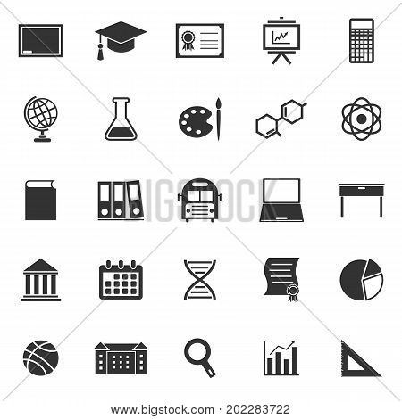Education icons on white background, stock vector