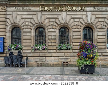 GLASGOW, SCOTLAND - JULY 21: Committee Room No. 9 pub and freehouse  on July 21, 2017 in Glasgow, Scotland. The Piper Bar is a popular pub and whisky bar across the street from George Square.