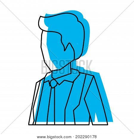 businessman faceless in suit and half body blue watercolor silhouette vector illustration