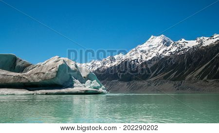 Mt Cook Viewed From Tasman Lake, New Zealand