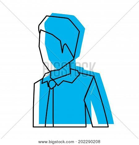 businessman faceless in shirt with tie and half body blue watercolor silhouette vector illustration