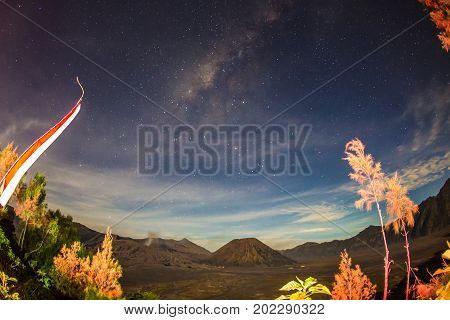 Milky Way Mount Bromo is an active volcano and part of the Tengger massif in East Java Indonesia.