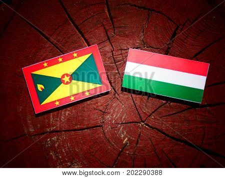 Grenada Flag With Hungarian Flag On A Tree Stump Isolated