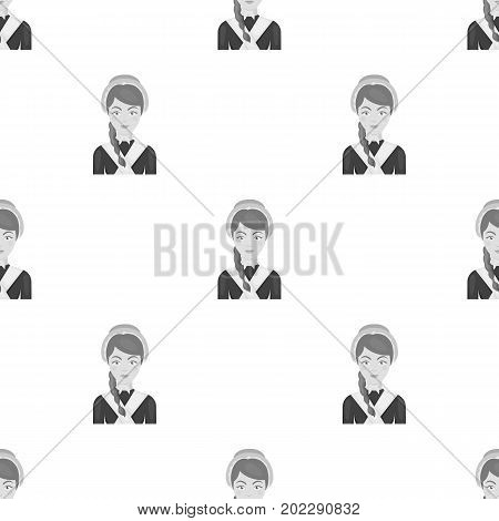Girl with a braid and in a headdress.The dark Belgian wolf. Belgium single icon in monochrome style vector symbol stock web illustration.