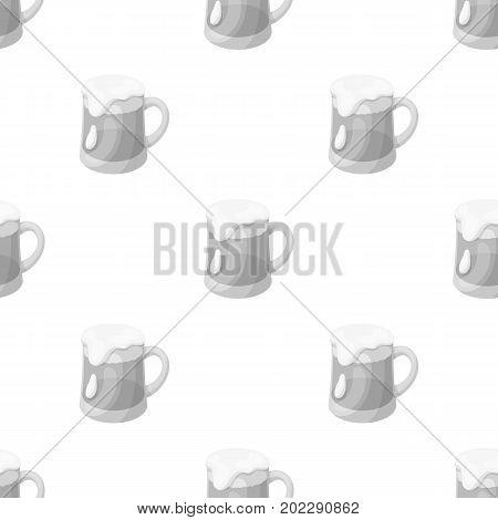 A glass of foamy Belgian beer.The dark Belgian wolf. Belgium single icon in monochrome style vector symbol stock web illustration.