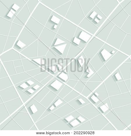 Seamless structure of map of nonexistent city. White pattern of lines and polygons.