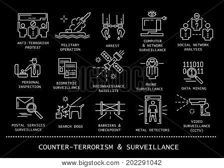 Vector set of counter-terrorism and surveillance thin line icons on black background.