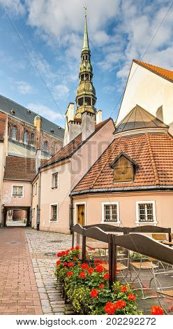 Medieval district in old Riga city that is the capital of Latvia offering for tourists unique architectural Gothic ensembles and rare ancient buildings,