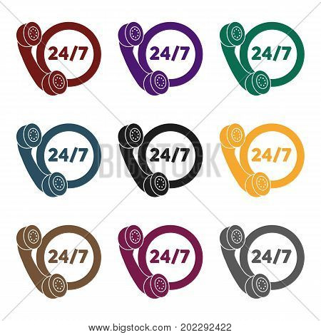 Around the clock icon in black style isolated on white background. Logistic symbol vector illustration.