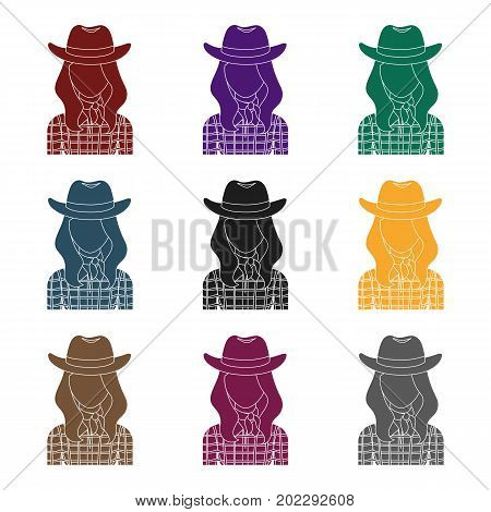 Cowgirl icon in black design isolated on white background. Rodeo symbol stock vector illustration.