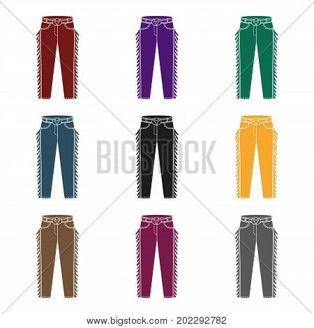 Cowboy jeans icon in black design isolated on white background. Rodeo symbol stock vector illustration.