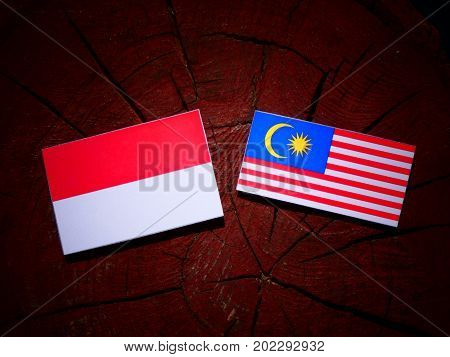 Indonesian Flag With Malaysian Flag On A Tree Stump Isolated