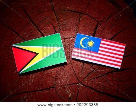 Guyana Flag With Malaysian Flag On A Tree Stump Isolated