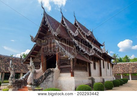 Wat Ton Kain 700 years or Inthrawat temple , popular famous tourist attraction landmark in Chiangmai. Old wooden Thai temple in Chiang Mai Thailand