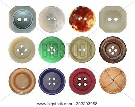 Detail of the various old and used buttons on white background