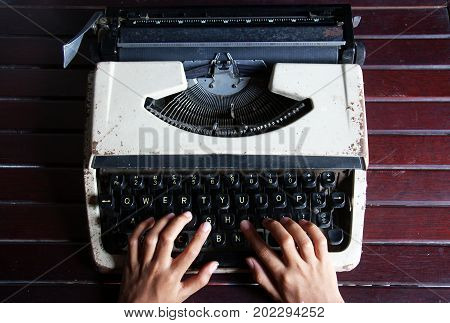 Hand Typing in Vintage Typewriter Machine, Vintage typewriter.