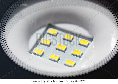 Closeup shot of a led lamp diodes